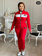 Спортивный костюм женский красный, с 50-56 размер, фото 1