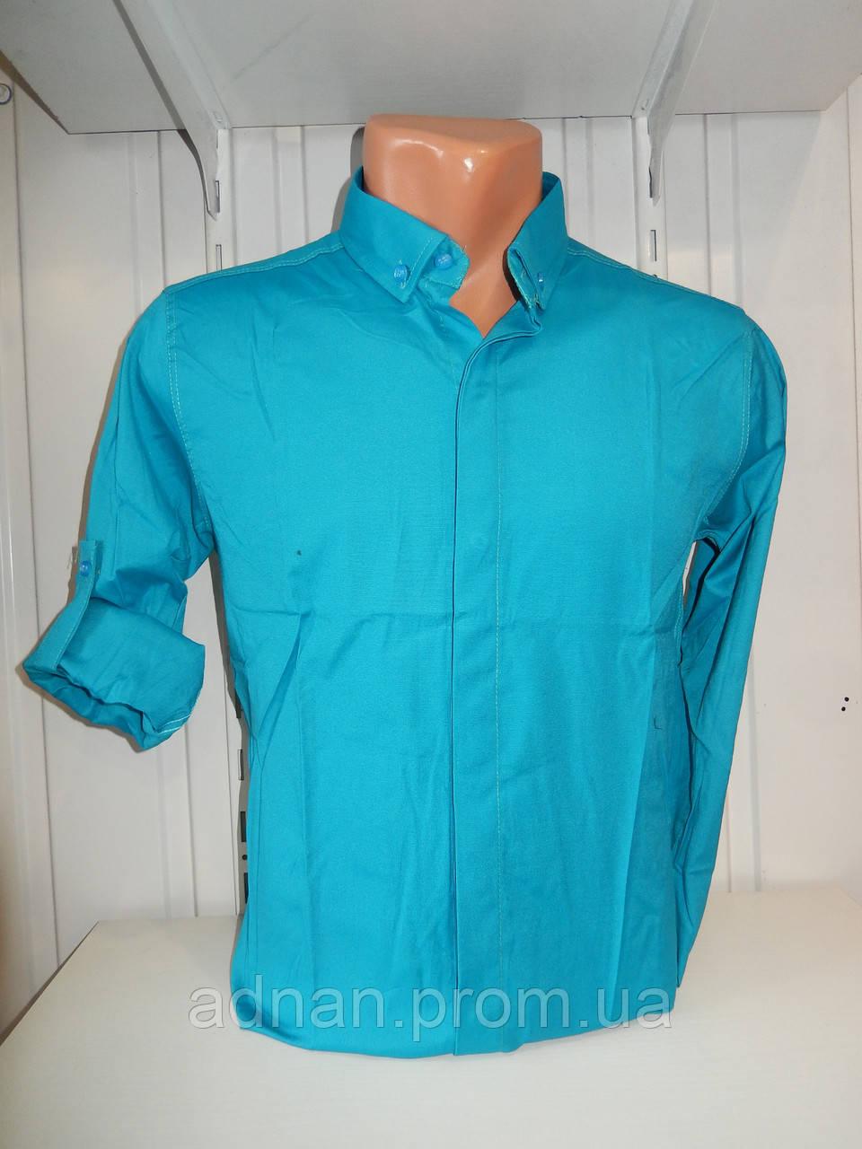Сорочка чоловіча, рукав трансформер, однотонна, стрейч 005\ купити сорочку