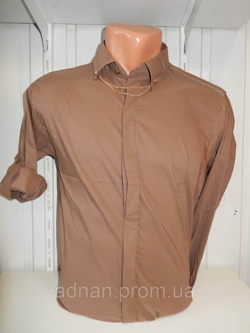 Сорочка чоловіча, рукав трансформер, однотонна, стрейч 007\ купити сорочку