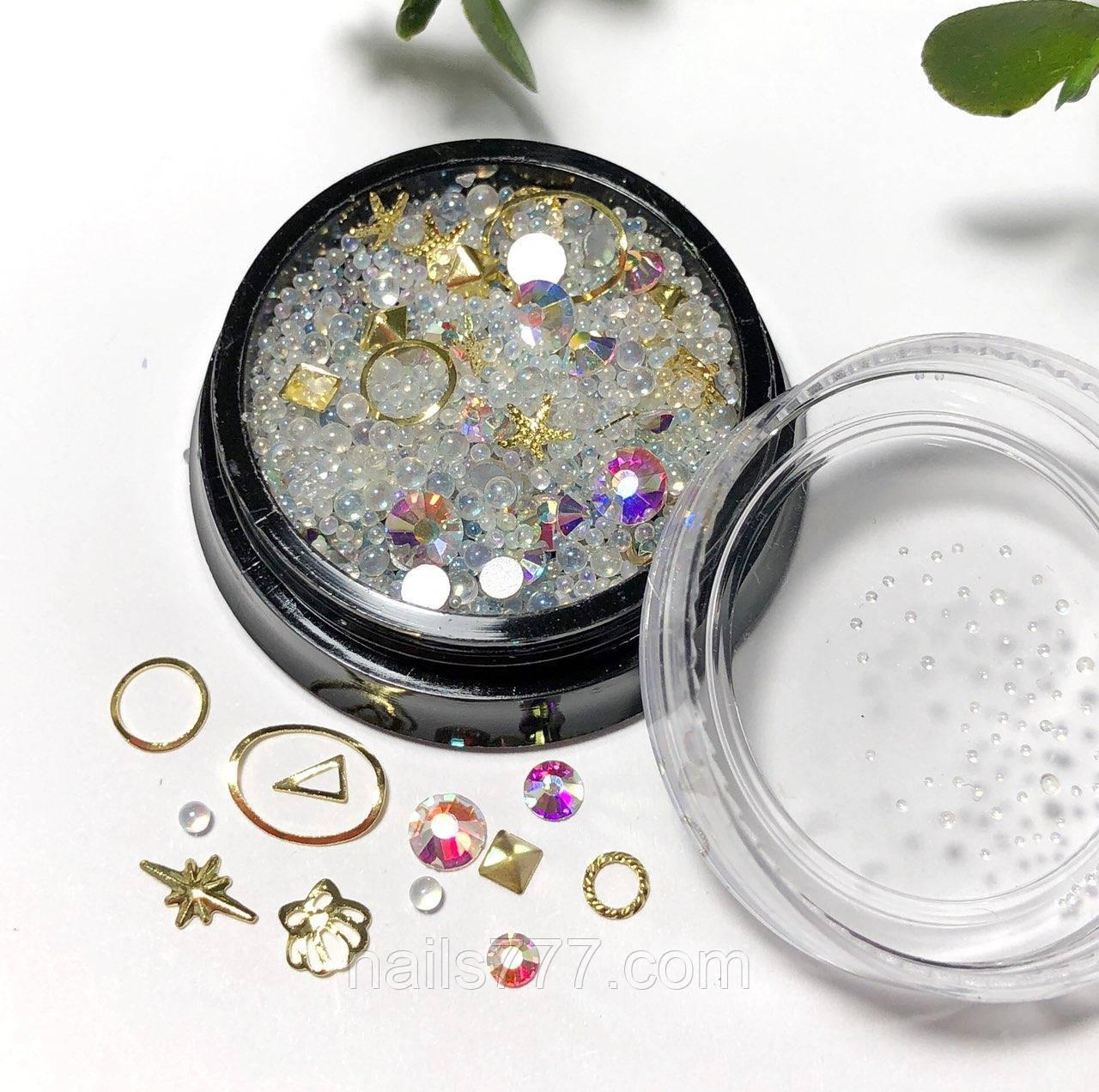 Декор для дизайну нігтів перли мікс