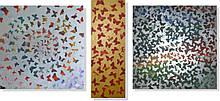 Репродукция модульной картины триптих «Бабочки 2»  75 х 170 см