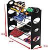 Полка органайзер для обуви на 12 пар черного цвета Stackable Shoe Rack, фото 3