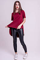 ✔️ Туника летняя асимметричная Нона с поясом 44-52 размера бордовая, фото 1
