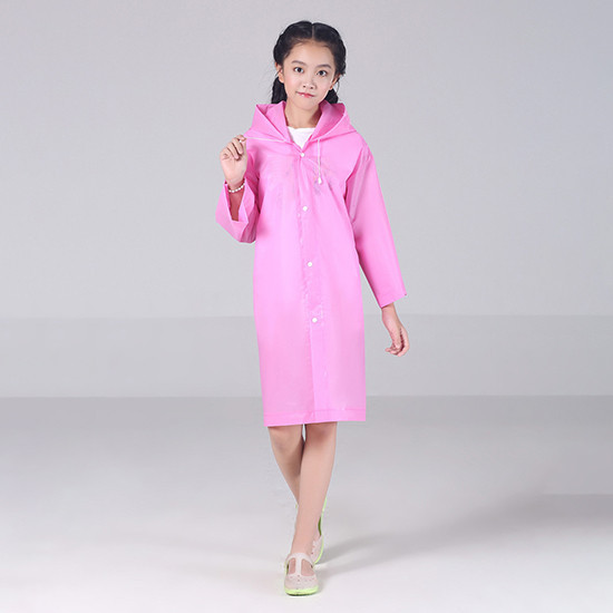 Детский плащ-дождевик с капюшоном (розовый)