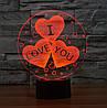 3D Светильник I LOVE YOU, фото 3