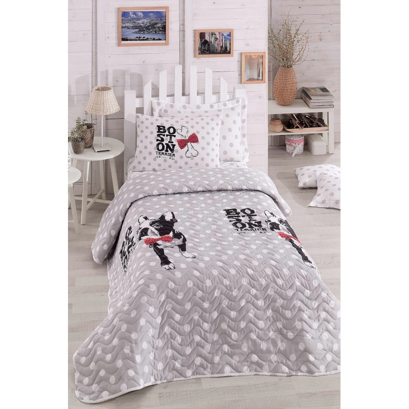 Покрывало детское 200х220 с наволочками на кровать, диван Бостон-терьер