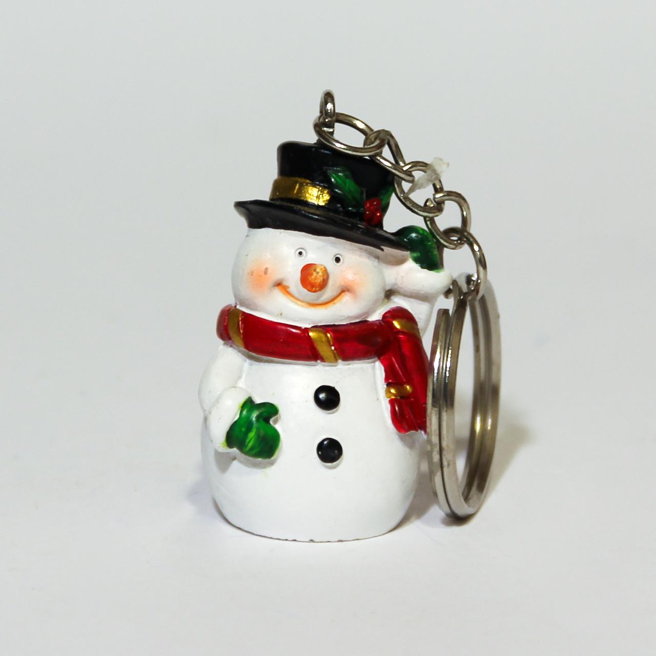 Декоративная фигурка-брелок - Снеговик, 5 см, белый, полистоун (022304-1)