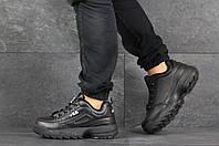 Кроссовки мужские повседневныеFila кожаные на весну осень модные кроссовки в стиле филачерные