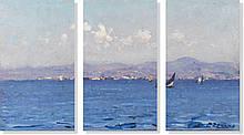 Репродукция модульной картины триптих «Берег 2»  75 х 130 см
