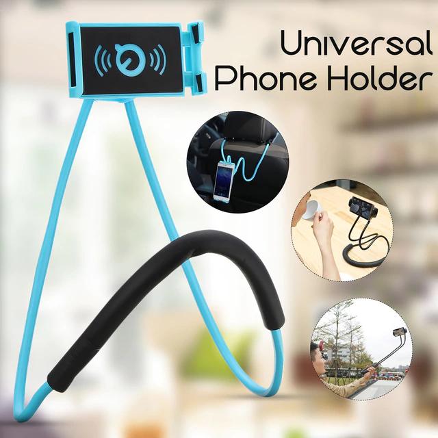 Держатель для телефона на шею 2 в 1   монопод   селфи палка (Реплика)
