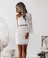 Платье белое кружевное красивое на одно плечо, фото 1
