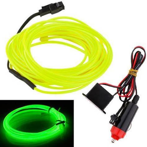 Гибкий неон cветопровод EL неоновая подсветка салона авто 5м, зеленая, фото 2
