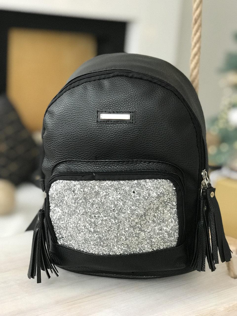 Рюкзак женский R-118-1, черный с серебряными блестками