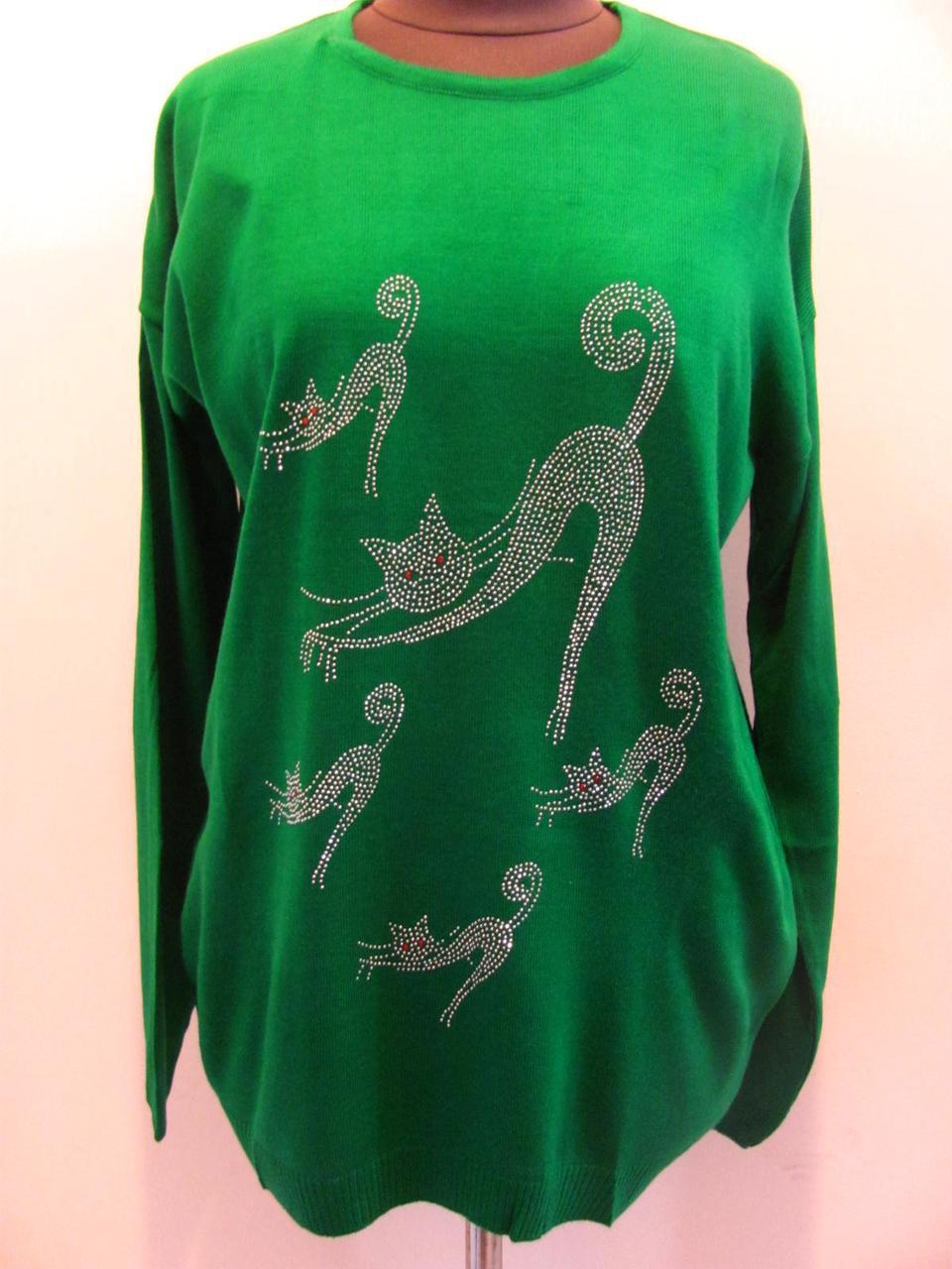 Свитер-туника Котики со стразов женский,из мягкого трикотажа, для прохладной погоды, р.52-56, код 4399М