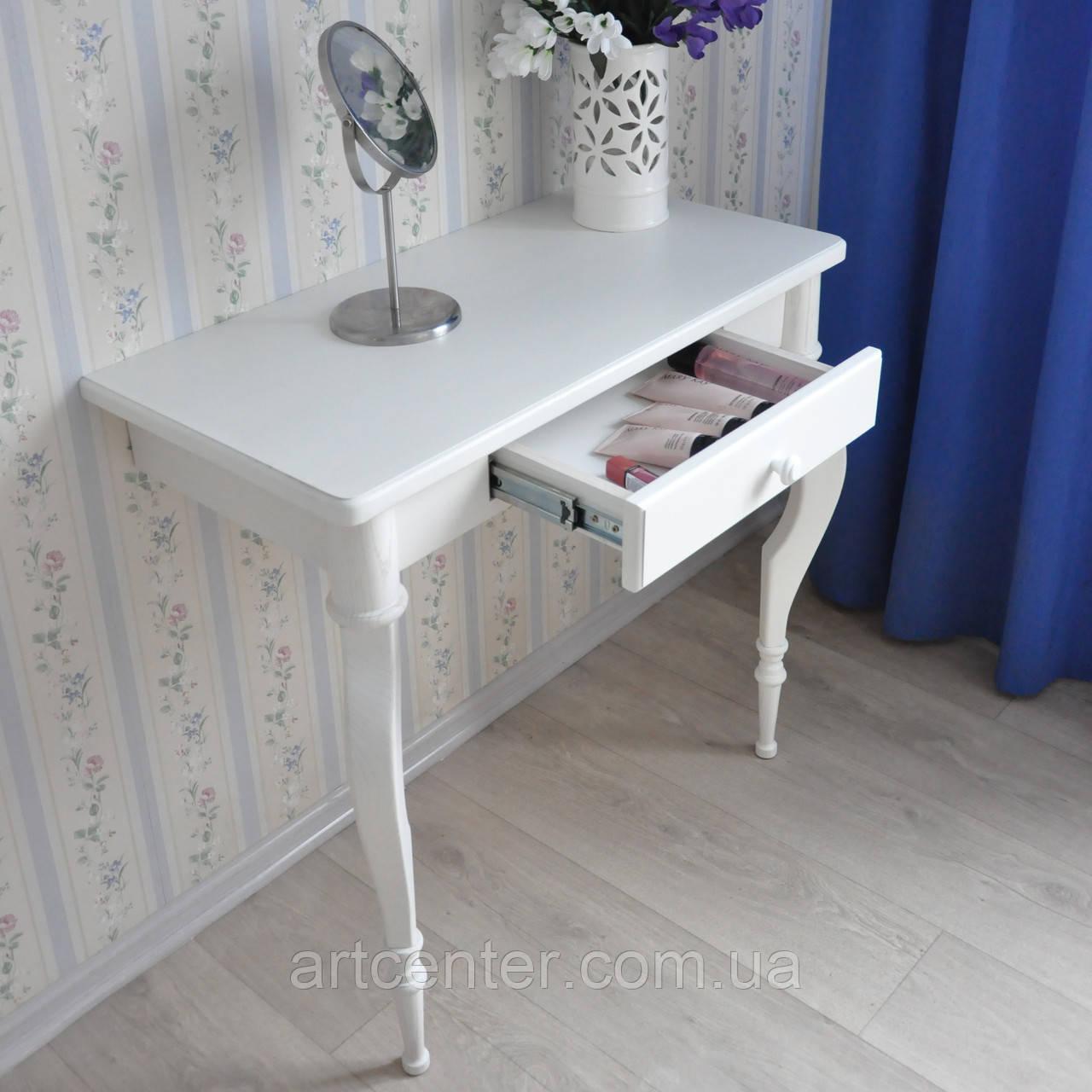 """Приставний столик на точених ніжках, консоль """"Прованс"""", білий, з ящиком"""