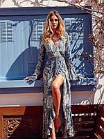 Платье летнее на запах длинное шифоновое