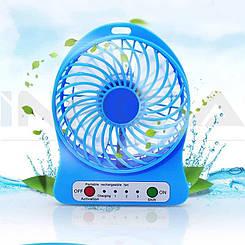 Мини вентилятор с аккумулятором Міні вентилятор з акумулятором Mini fan (Синий)