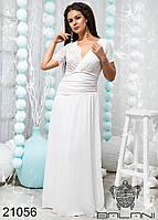 Платье вечернее белое шифоновое в пол большой размер