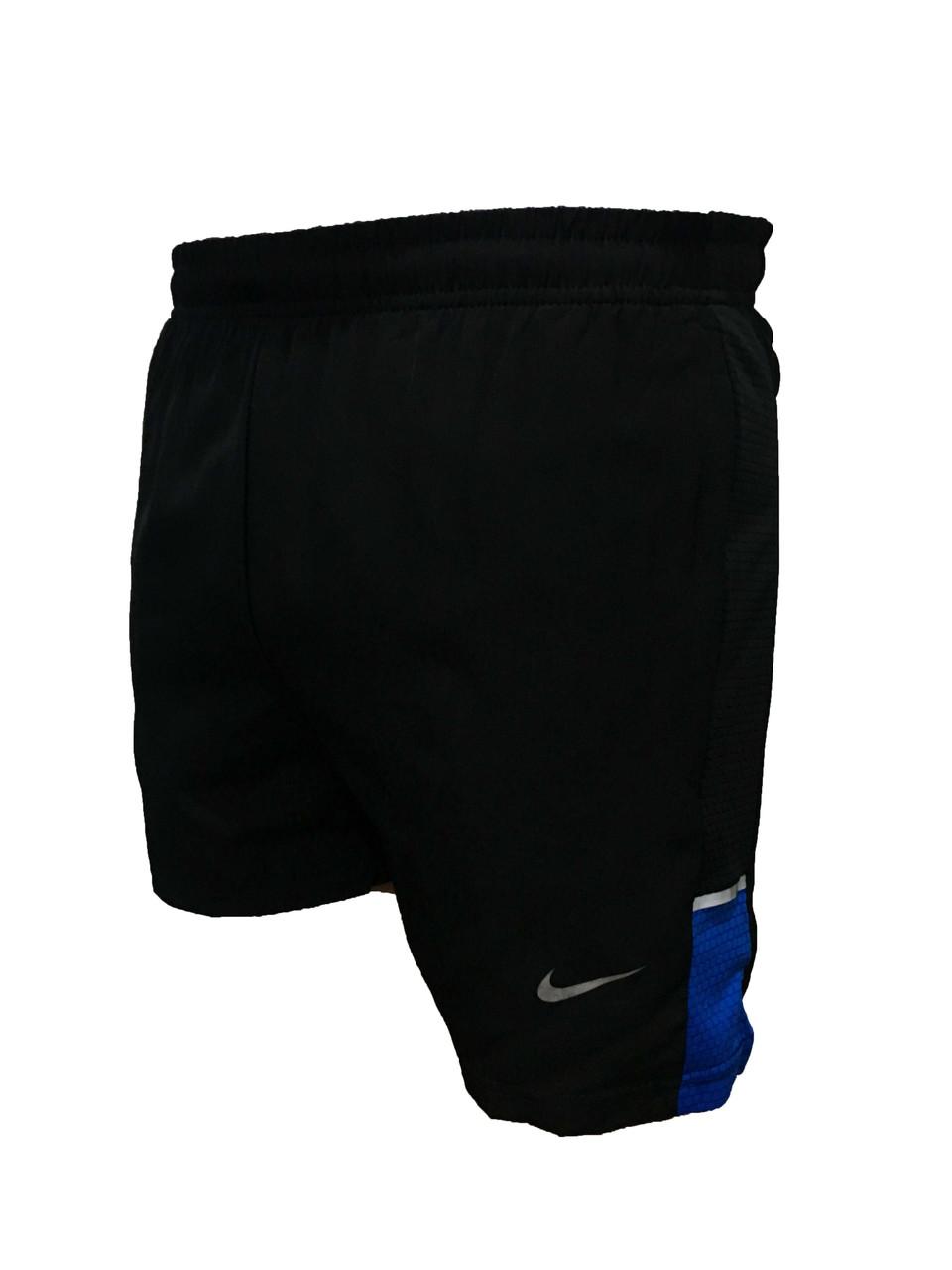 Мужские черные короткие плавательные шорты стрейч плащевка (Реплика)