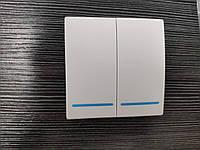 Беспроводной дистанционный выключатель света двухклавишный белый