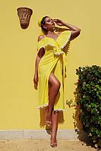 Красивое летнее платье средней длины на запах с коротким рукавом воланы желтое, фото 3