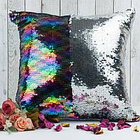 Подушка для сублимации квадратная 40*40 см с пайетками разноцветная
