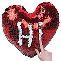 """Подушка для сублимации """"Сердце"""" с пайетками красная"""