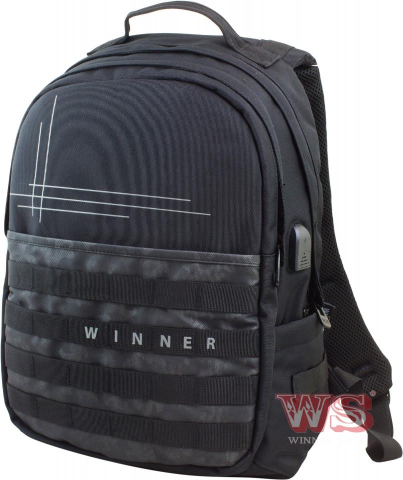 Молодежный ортопедический рюкзак Winner для подростка с USB черный