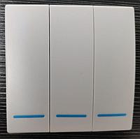 Беспроводной дистанционный выключатель света трёхлавишный белый