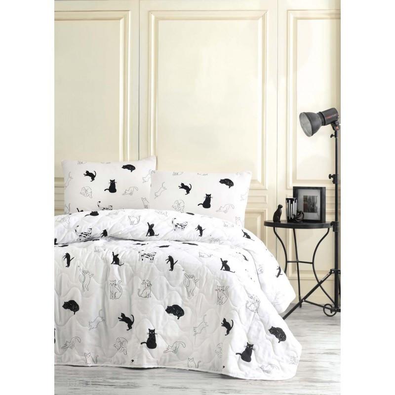 Покрывало детское 160х220 с наволочкой на кровать, диван Коты