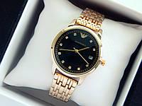 Кварцевые наручные часы Emporio Armani золотого цвета, черный циферблат, стразы на метках, отображение даты, фото 1