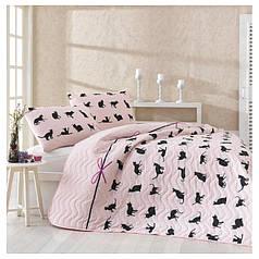 Покрывало детское 200х220 с наволочками на кровать, диван Коты розовые