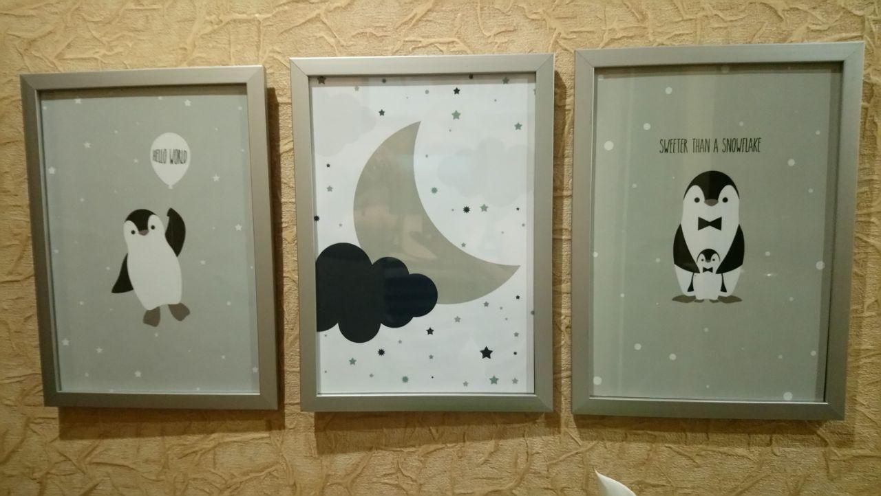 Модульные картины для детской комнаты Пингвины 3 шт