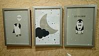 Модульные картины для детской комнаты Пингвины 3 шт, фото 1