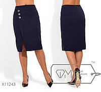 Классическая юбка женскаяс разрезом - Темно-синий