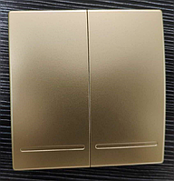 Беспроводной дистанционный выключатель света двухклавишный золотой
