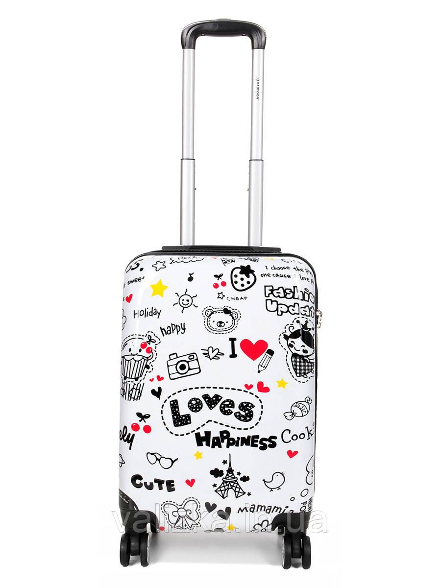 Чемодан пластиковый малый  из поликарбоната чемодан для  ручной клади Madisson с принтом love
