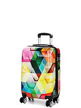 Чемодан пластиковый малый  из поликарбоната чемодан для  ручной клади Madisson с принтом ромбик , фото 3