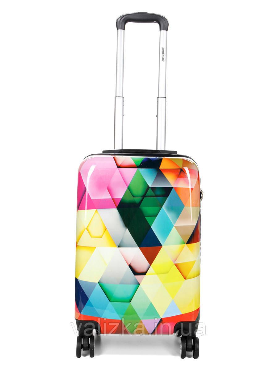 Чемодан пластиковый малый  из поликарбоната чемодан для  ручной клади Madisson с принтом ромбик