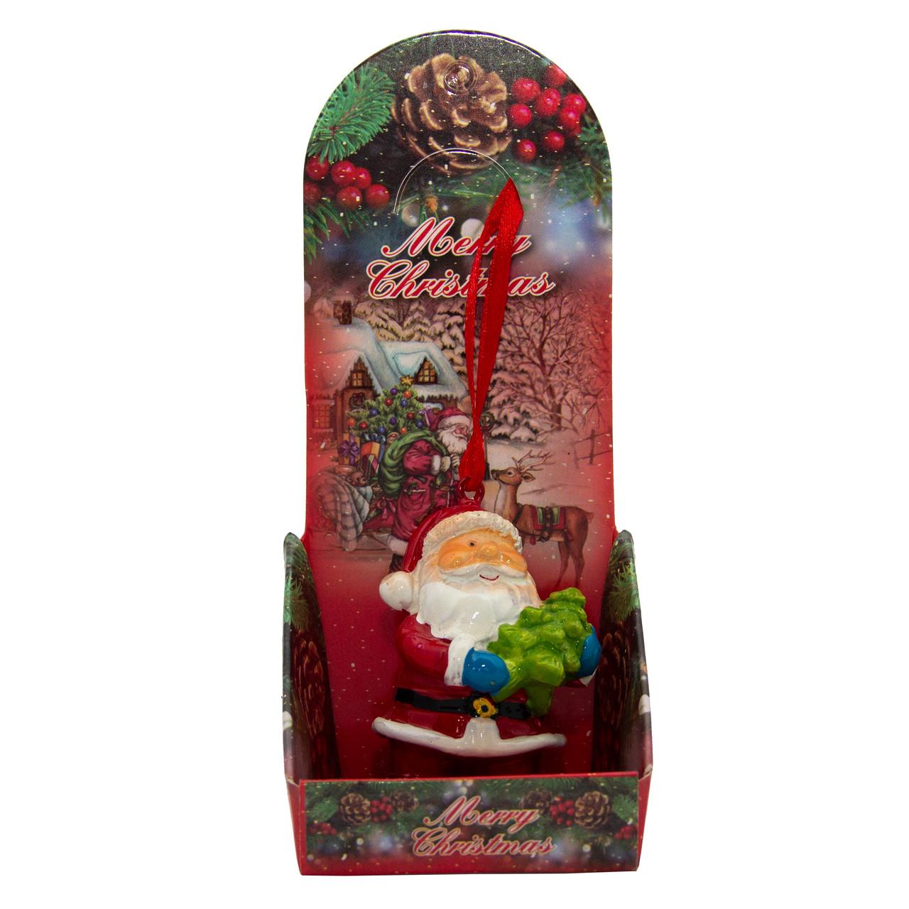 Новогодняя елочная игрушка - фигурка Дед мороз, h-6 см, красный, полистоун (023196)