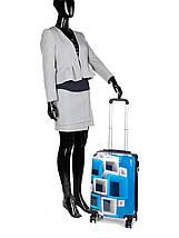Чемодан пластиковый малый  из поликарбоната чемодан для  ручной клади Madisson с принтом квадраты , фото 3