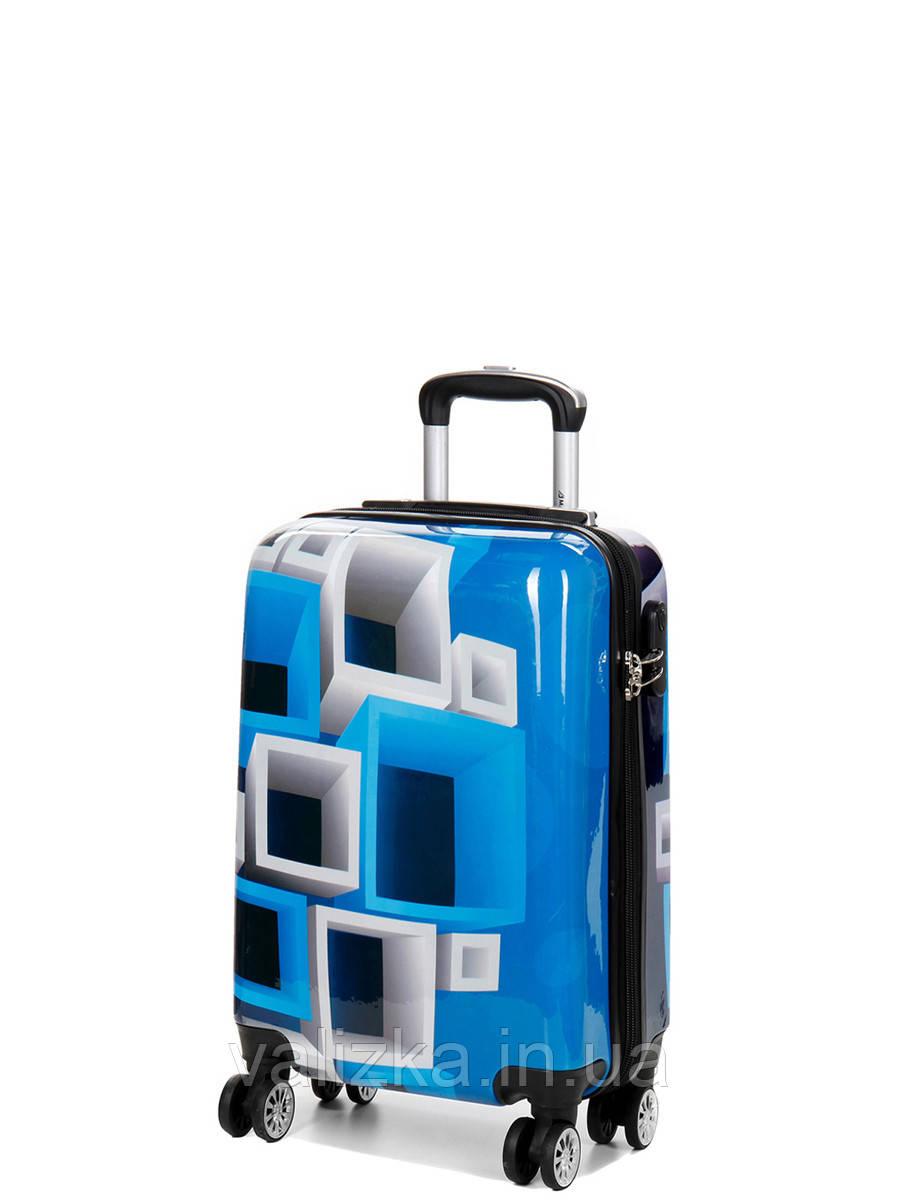 Чемодан пластиковый малый  из поликарбоната чемодан для  ручной клади Madisson с принтом квадраты