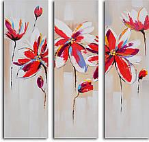 Репродукция модульной картины триптих «Флирт красных цветов»