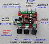 Hi-fi Bluetooth усилитель звука 2,1 2*15Вт 1*30Вт TPA3110 8-26V 4-8Ohm, фото 2
