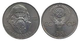 1 рубль 150 років з дня народження Д. І. Менделєєва 1984 р.