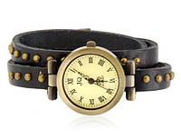 Часы браслет (длинный кожаный ремешок)  темно коричневого цвета
