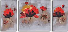 Репродукция модульной картины триптих «Танец красных лилий»