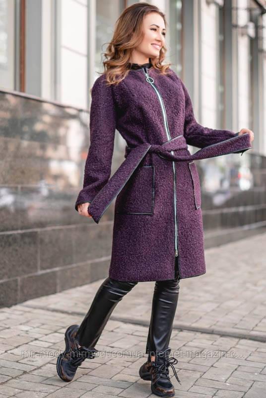 Женское демисезонное пальто на молнии РАНДЕВУ  букле с 42 по 60 размер (лб)