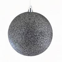 Куля d - 10 см  сірий графіт, глітер