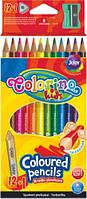 Олівці кольорові трикутні 12кол., чинка, золото, срібло COLORINO, 54706PTR